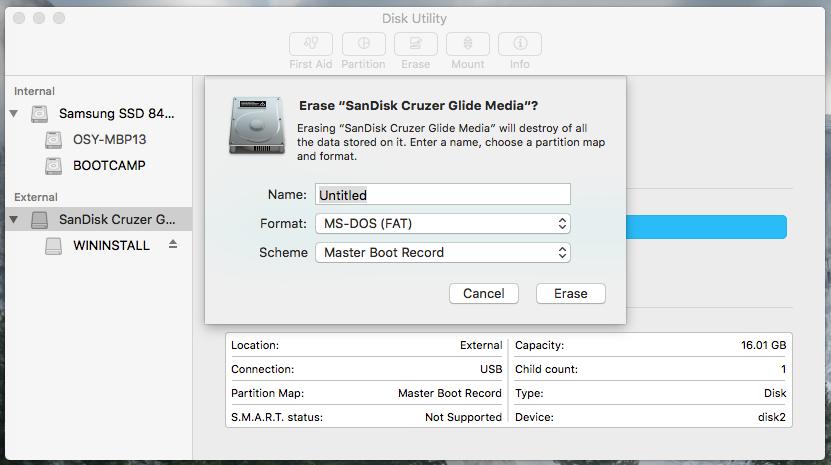 single fat partition usb mac