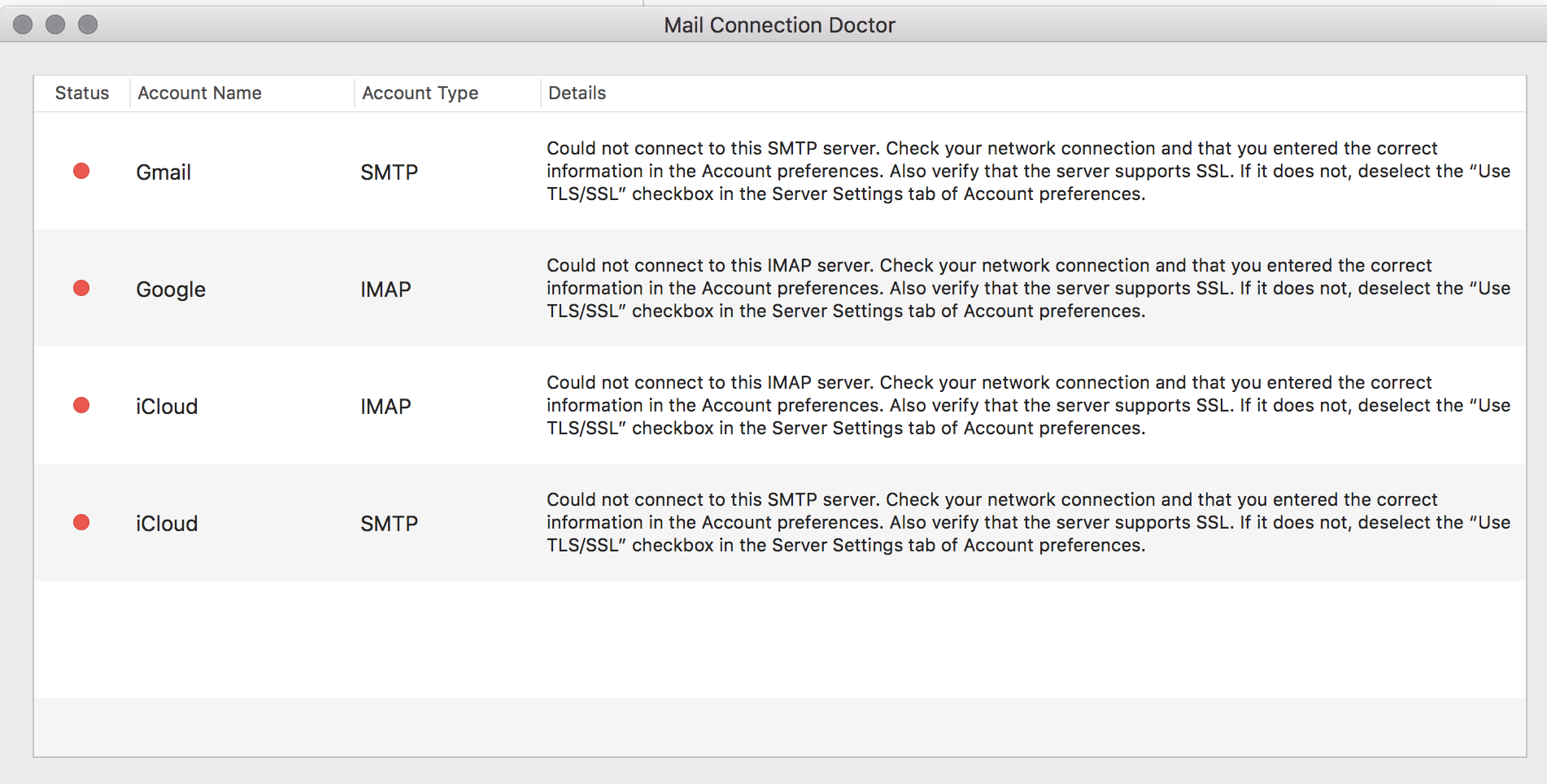 """Connections to the server """"imap gmail com… - Apple Community"""