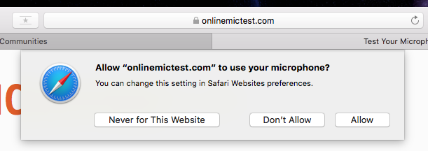 Microphone not working in Safari - Apple Community
