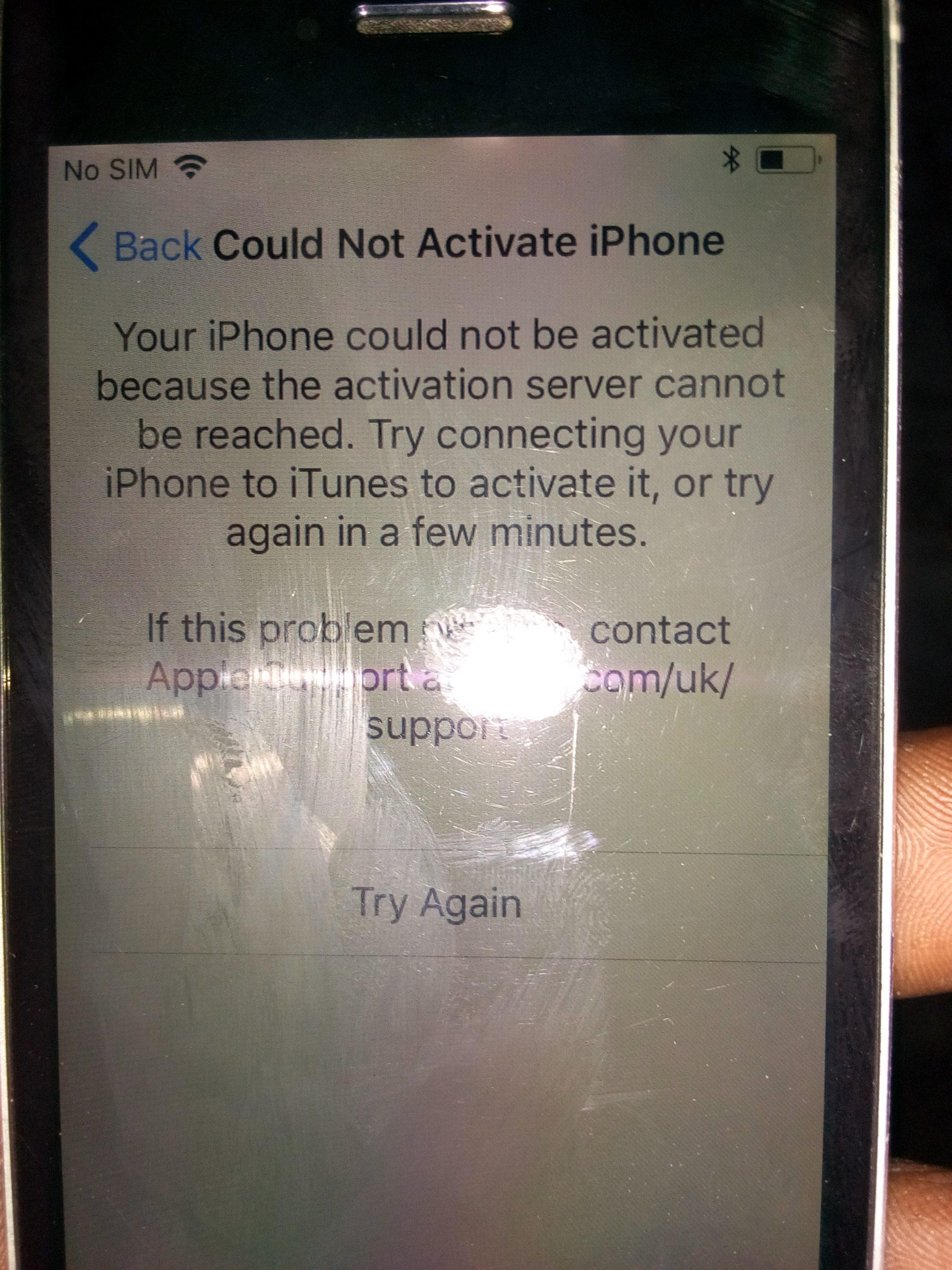 iphone error activation server cannot be reached
