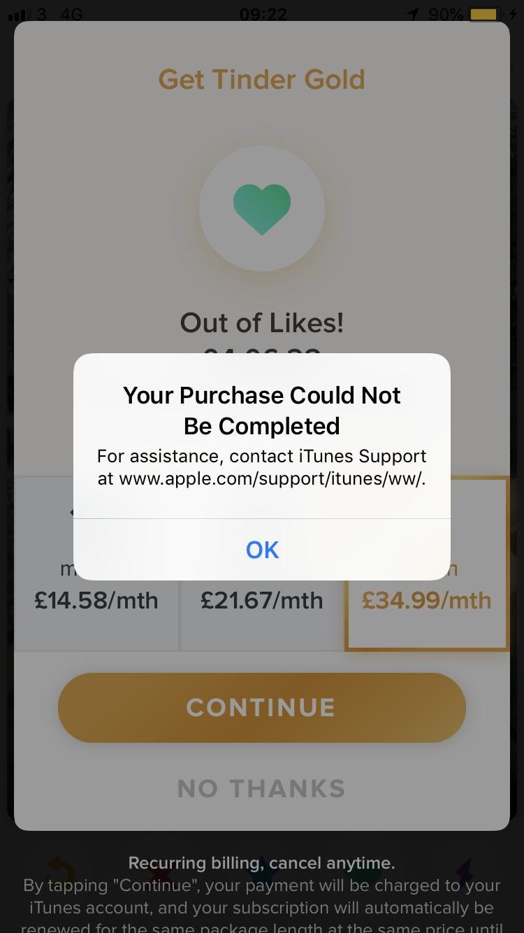 I want to purchase tinder gold - Apple Community