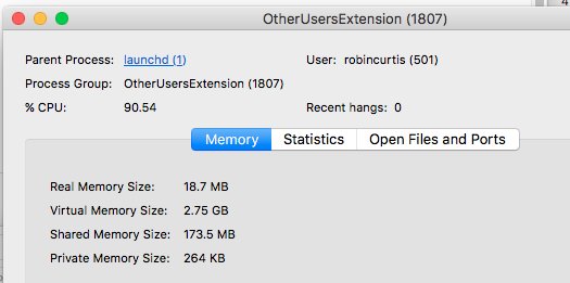 OtherUsersExtension process ? - Apple Community