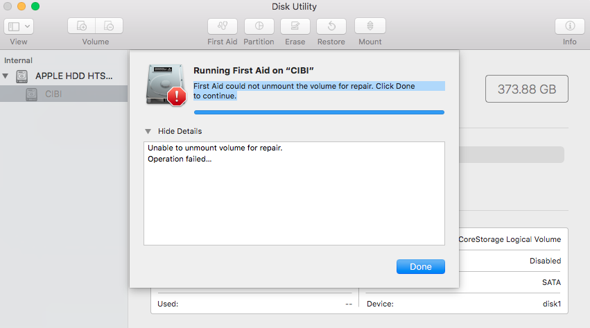 First Aid could not unmount the volume fo… - Apple Community