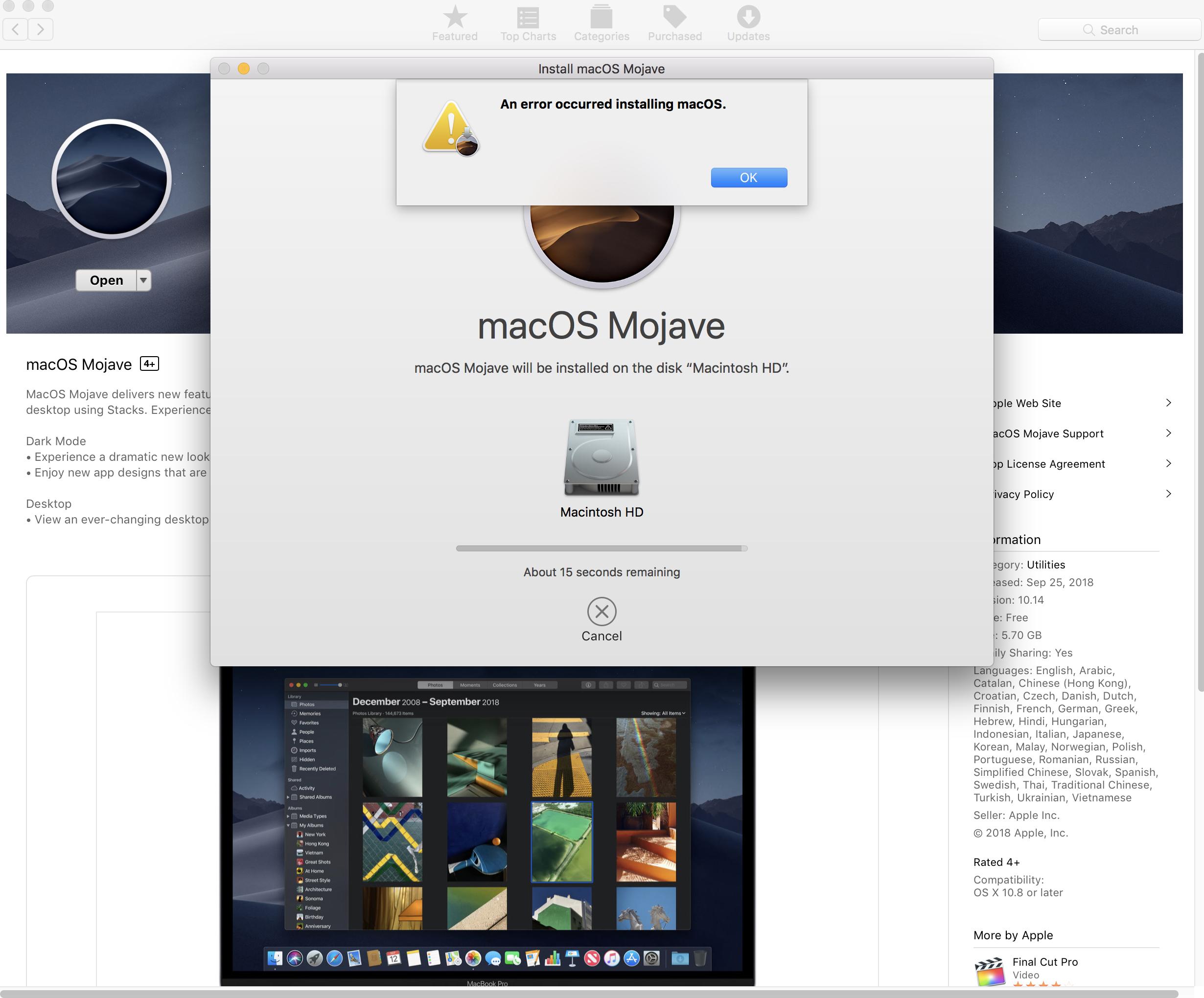 An error occurred installing macOS in Moj… - Apple Community