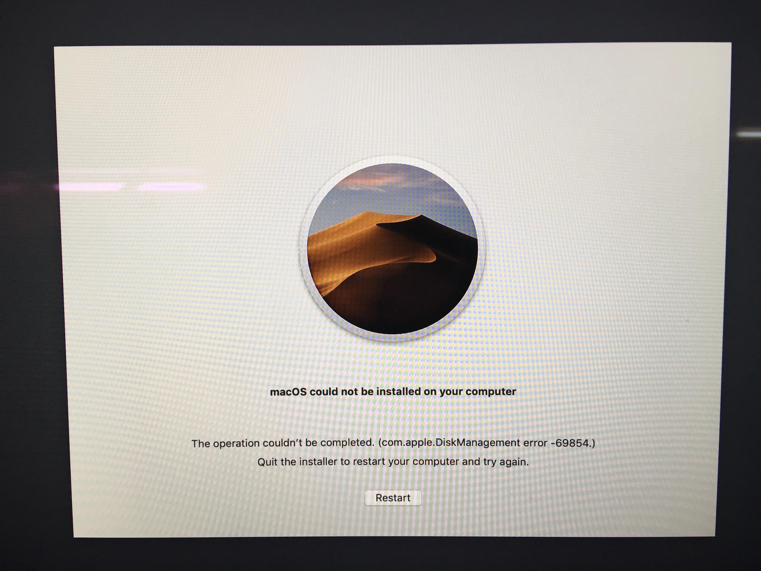 Error (code 69854) during installing Moja… - Apple Community