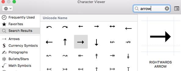 Ascii arrow characters