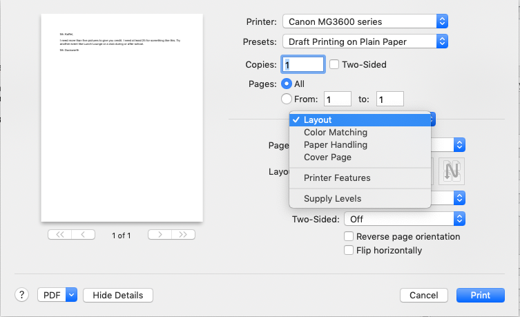 Printer Menu Options - Apple Community