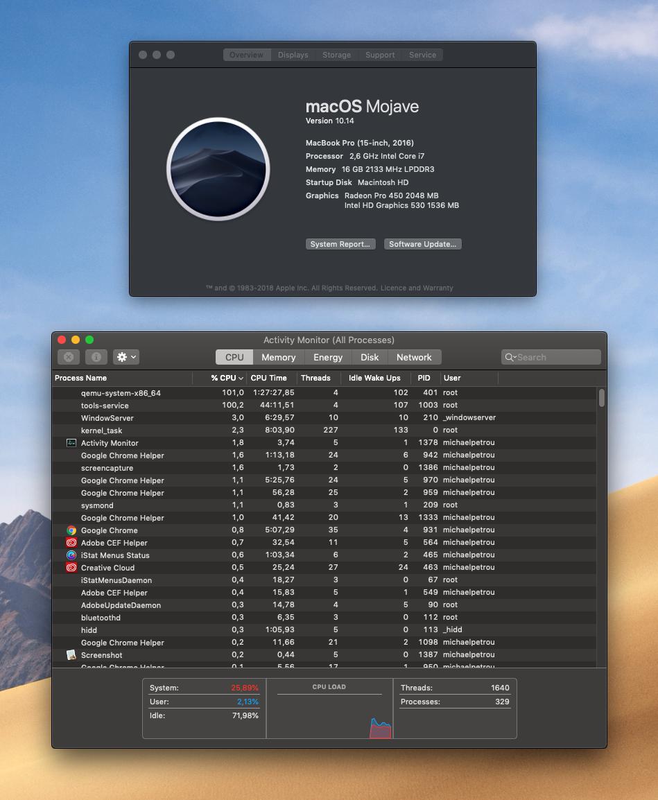 qemu-system-x86_64 runs 100% CPU - Apple Community