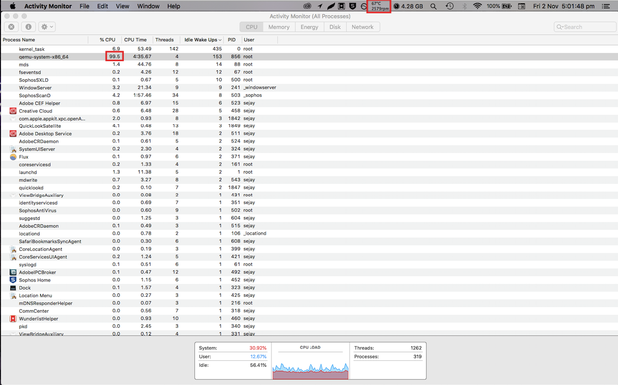 Qemu-system-x86_64 taking up 100% of my C\u2026 - Apple Community