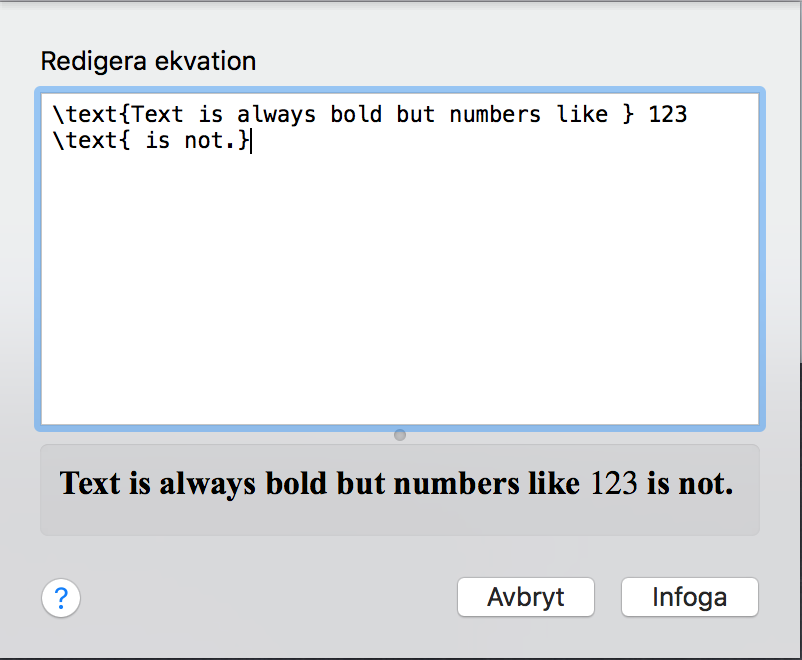 Text in equation editor always bold - Apple Community