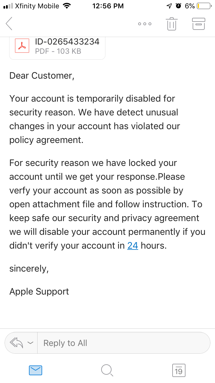 Spam email saying Apple ID's been locked … - Apple Community