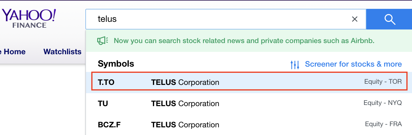 T TO (Telus TSE) Stock Quote Not showing … - Apple Community