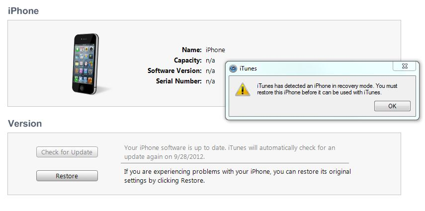 iPhone 4 stuck in recovery mode! - Apple Community