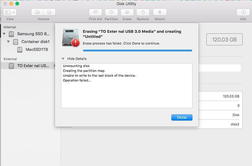 High Sierra erase drive fails      both w… - Apple Community