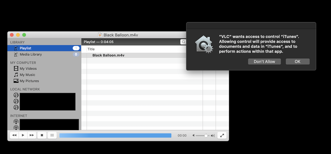 """VLC"""" Wants Access to Control """"iTunes"""" --… - Apple Community"""