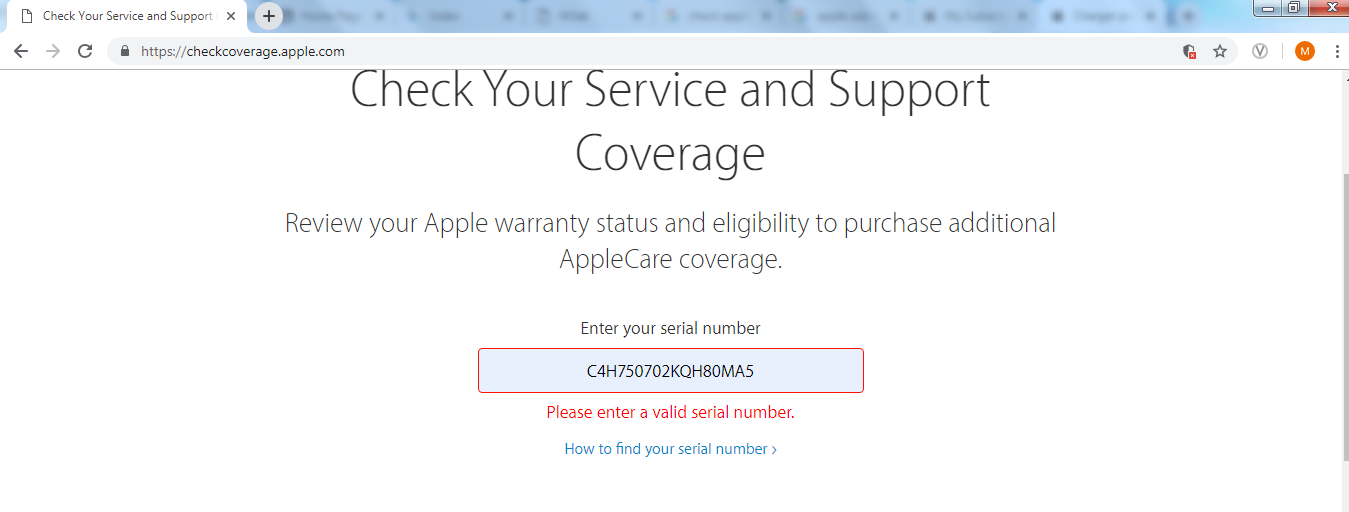 apple support invalid serial number