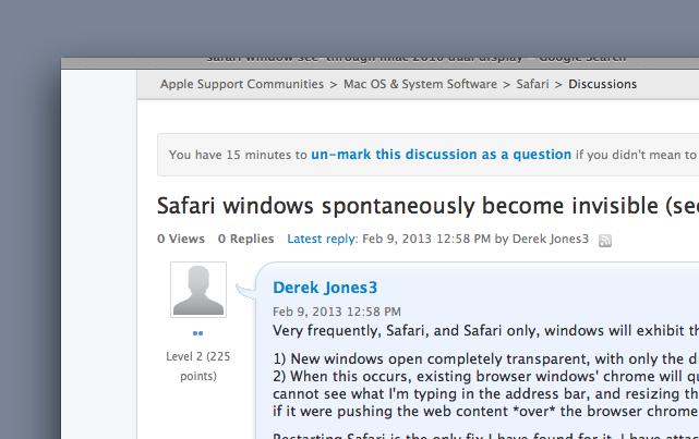 Safari windows spontaneously become invis… - Apple Community