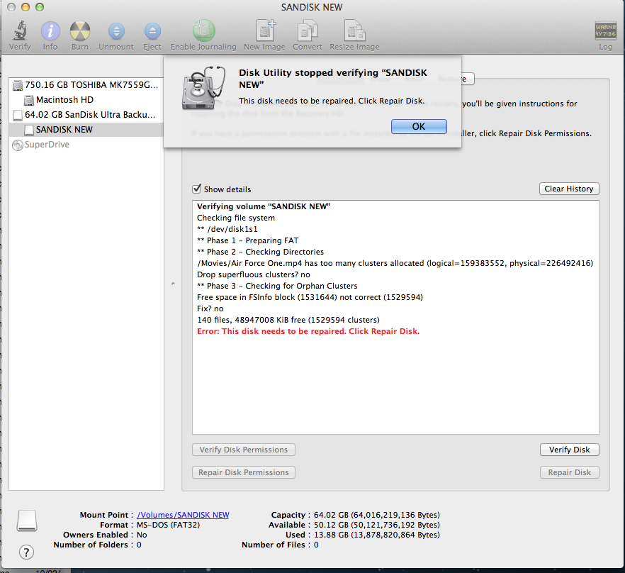 Disk Utility - Cannot repair disk (USB) - Apple Community