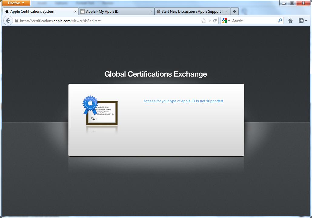 Certificationsle Registration Pro Apple Community