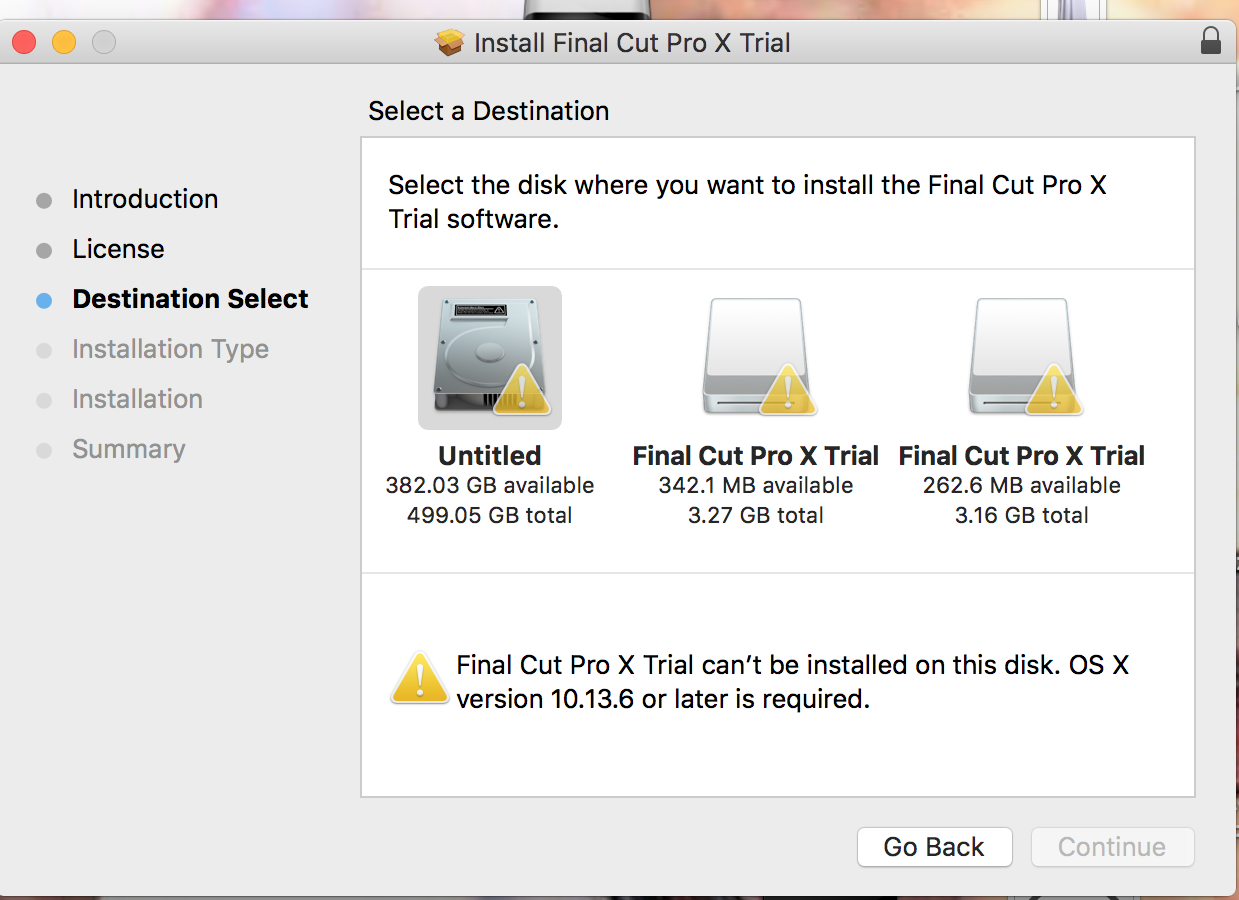 final cut pro x cant be installed on this… - Apple Community