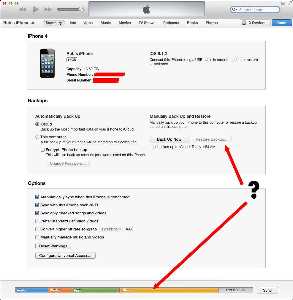 Restore Backup Unavailable - Other Data? - Apple Community