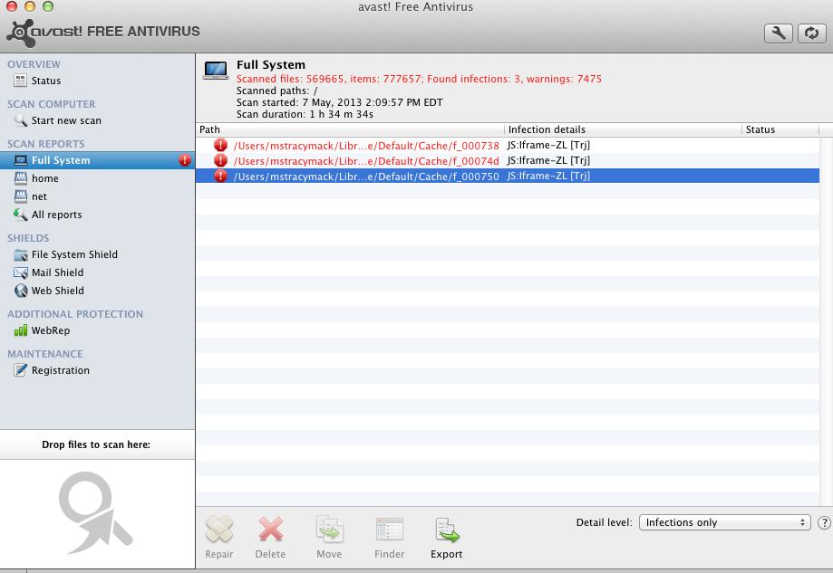 cant delete avast cache folder