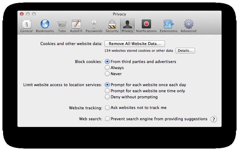 delete cookies on mac 10.6.8