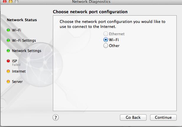 internet and server failed mac ethernet