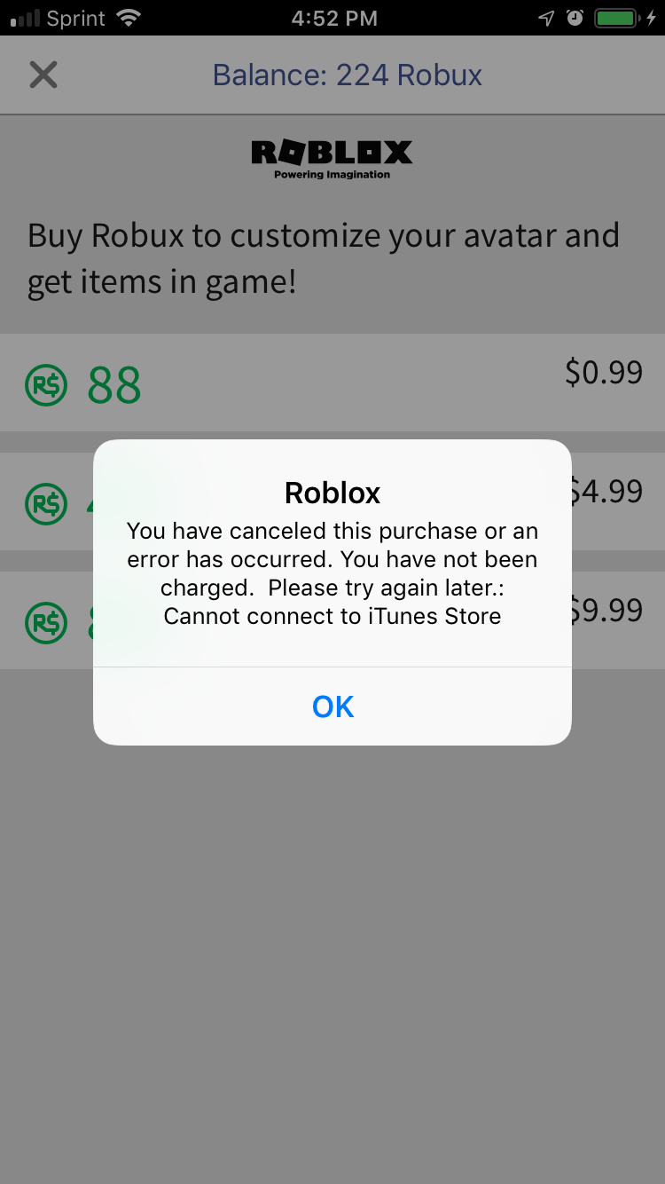 It Wont Let Me Buy Robux Apple Community - roblox buy robux for less