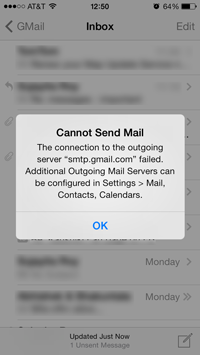 connection to outgoing server smtp.gmail.… - Apple Community