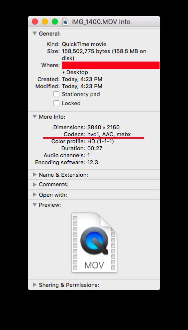 hvc1, AAC, mebx Codecs - iPhone X - El Ca… - Apple Community