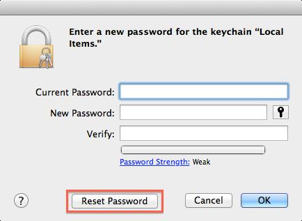 os x forgot local items keychain password