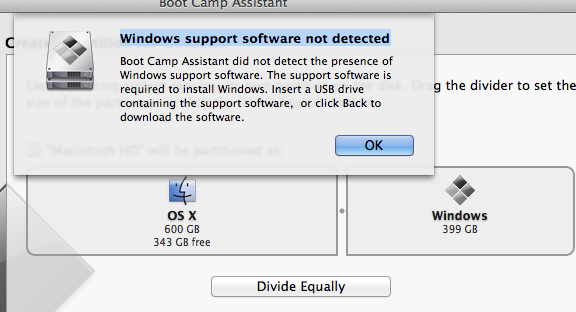 Windows support software not detected - Apple Community