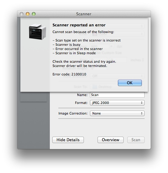 mf toolbox cannot communicate with scanner mac