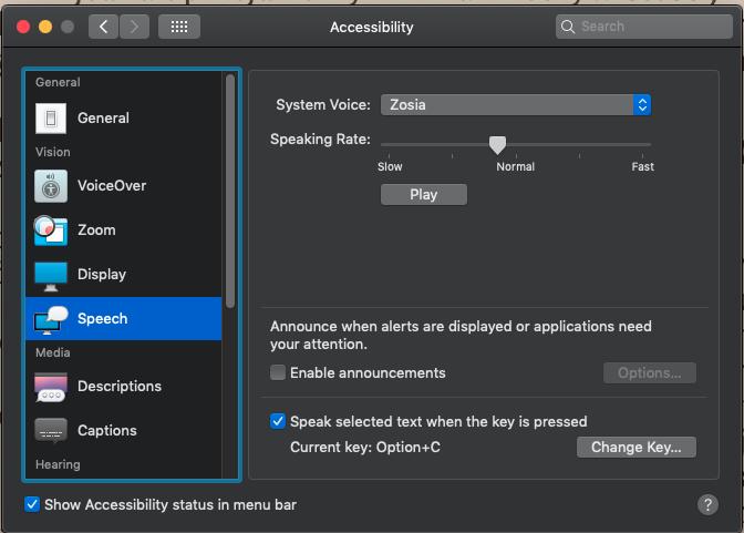 Text to speech - macOS Mojave - Kindle ap… - Apple Community