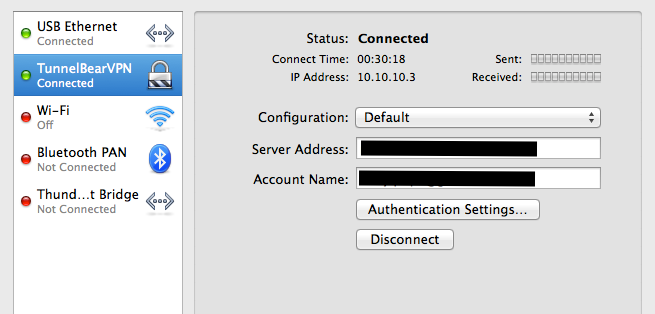 VPN Tunnelbear Manual Configuration Optio… - Apple Community