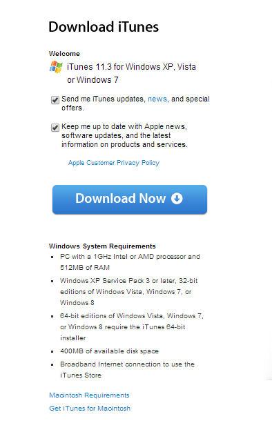itunes win7 32 bit download