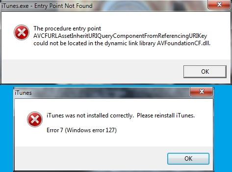 problem installing itunes on windows 7