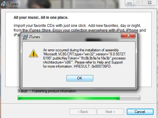 I cannot install itunes on my pc  That … - Apple Community