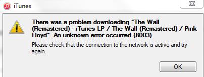 How to fix itunes error 8003.
