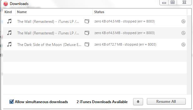 iTunes Store: iTunes LP Error 8003 - Apple Community