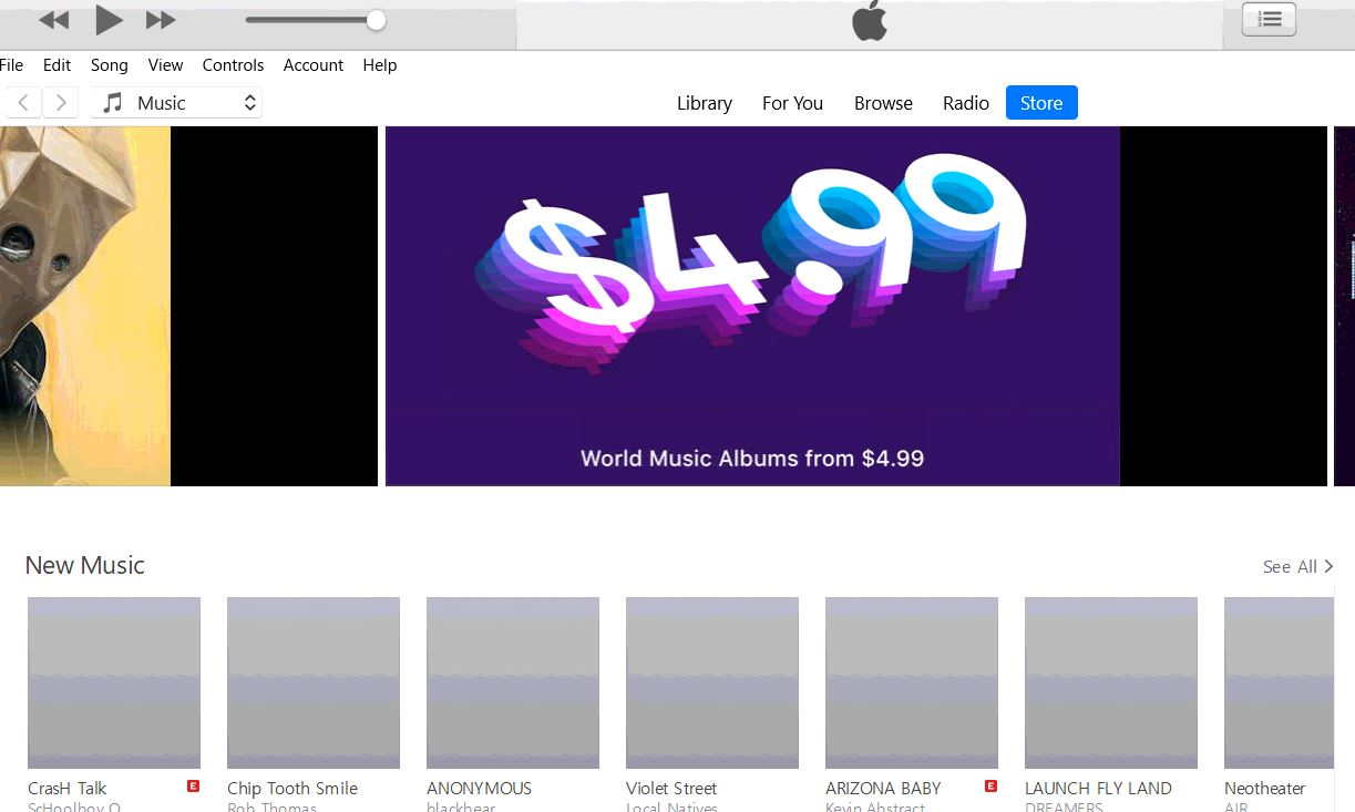 Gray boxes in iTunes store - Windows - Apple Community
