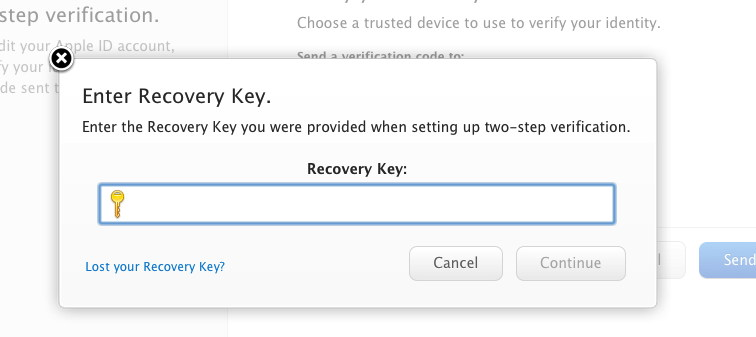 apple id verification recovery key