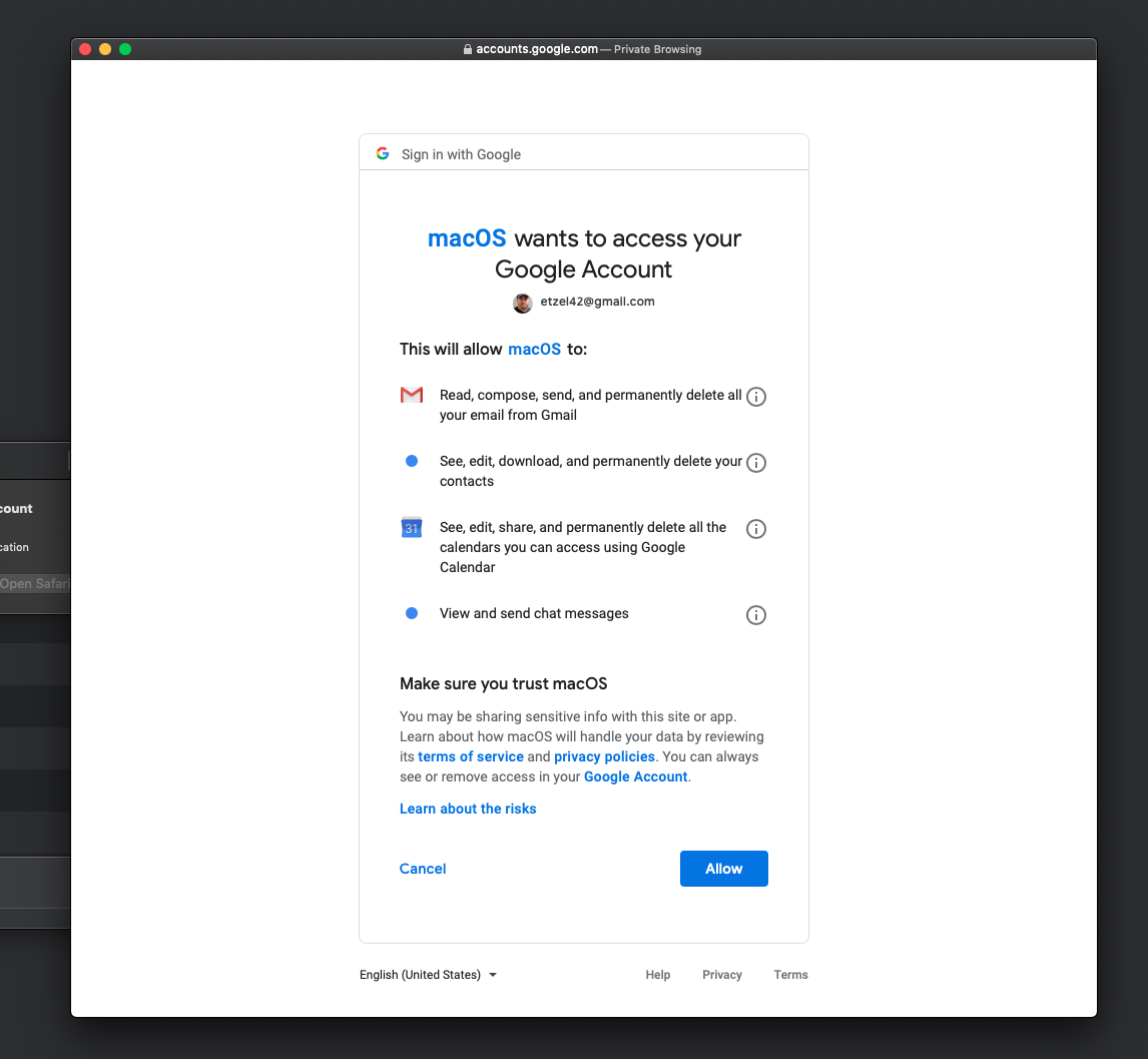 macos wants to access your google account