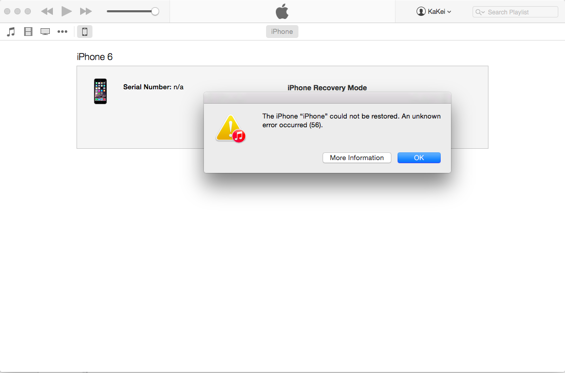 unknown error code 56 when restore iPhone… - Apple Community