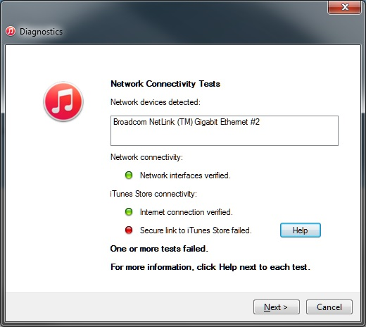 network connection reset itunes download
