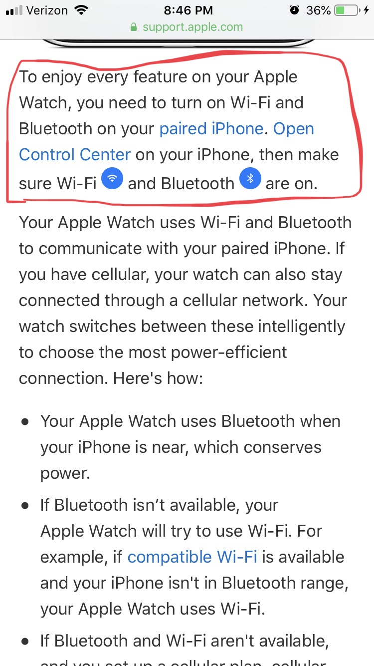 Apple Watch Wifi Bluetooth Connection Apple Community