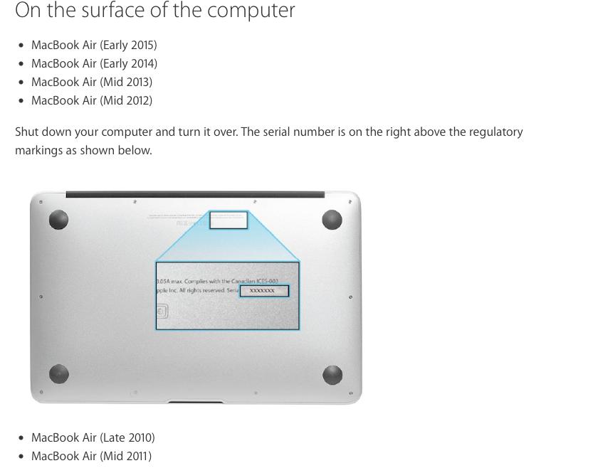macbook air year serial number
