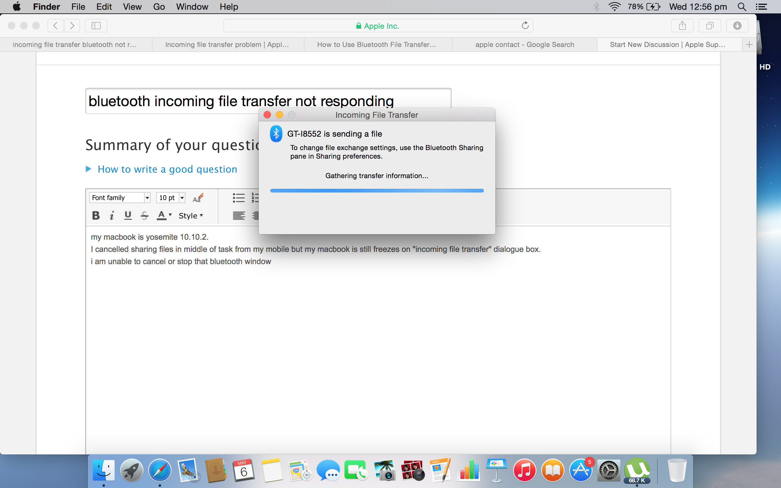 bluetooth incoming file transfer not resp… - Apple Community