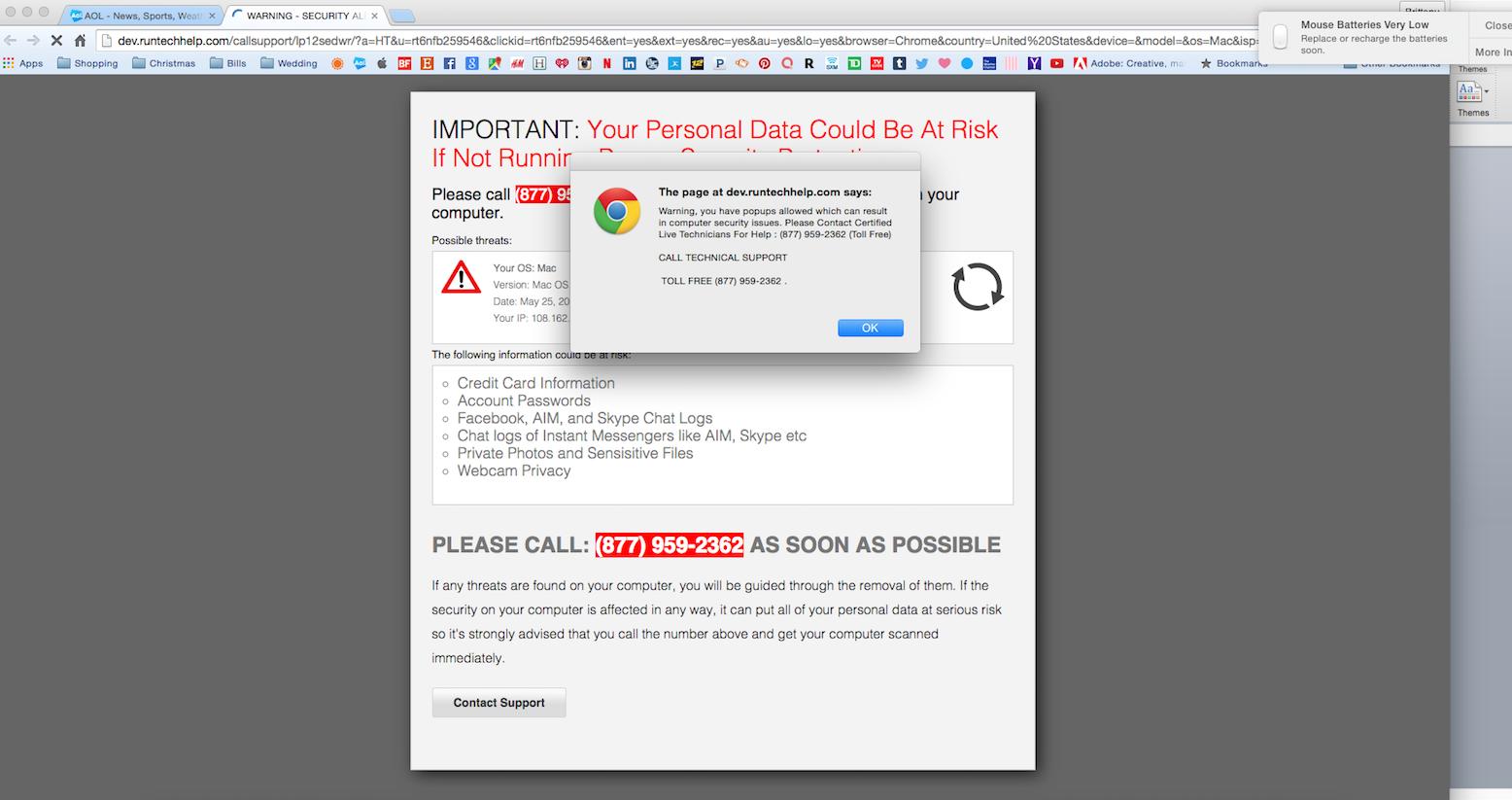 security alert popup virus
